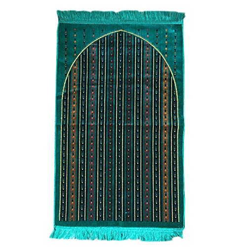 Al Arabia Muslim Prayer Rug - Made from Embossed Velvet - Features Stripes Design & Fringes On Both Sides - Portable Islamic Prayer Mat - Gift for Ramadan & Special Occasions, 44 x 27