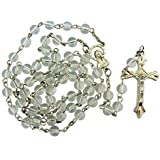 Clear Glass Beads Rosary, 6mm Beads, Great for Women, Men or Children