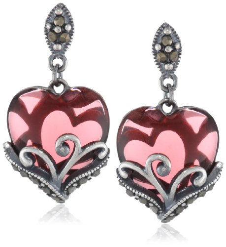 Sterling Silver Oxidized Genuine Marcasite and Garnet Colored Glass Filigree Heart Drop Post (Sterling Silver Garnet Marcasite Earrings)