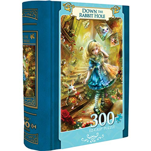 MasterPieces EZGrip Alice in Wonderland Collectible Book Box, Extra Large Jigsaw Puzzle, Down The Rabbit Hole, 300 Pieces, for Ages 9+