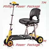 """Merits Health Products - Yoga - 4-Wheel Portable Folding Scooter - 16""""W x 14""""D - Yellow - PHILLIPS POWER PACKAGE TM - TO $500 VALUE"""