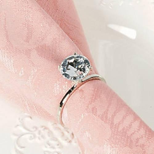 Dozen Faux Diamond Ring Napkin Rings (silver) by Fun Express