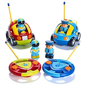 51Nj1ZTHwLL. SS300  - Prextex Pack of 2 Cartoon R/C Police Car and Race Car Radio Control Toys for Kids- Each with Different Frequencies So…