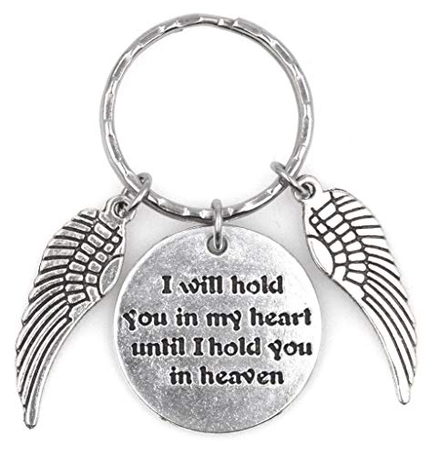 I Will Hold You in My Heart Until I Hold You in Heaven 2 Angel Wings Keychain 112S (Angel Wings Keychain)