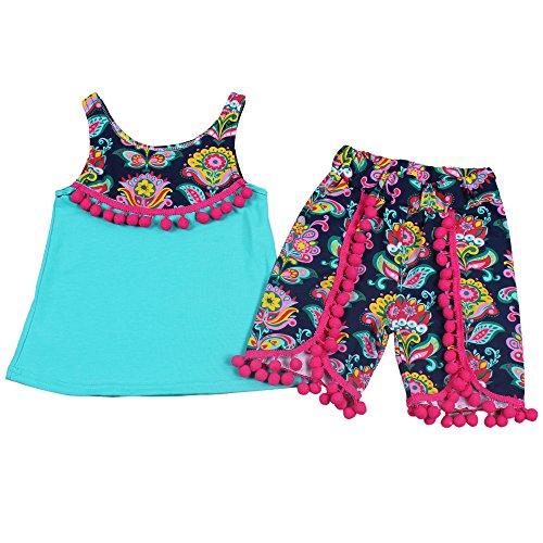Yawoo Haan Girls Flower Print Summer T-Shirt Shorts Pom Pom Clothing Set Green 3T