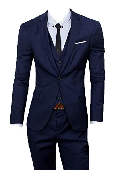 fd65364b0318 BLTR Men Blue Slim Fit 3 Piece Checked Suits Double Breasted Vintage  Fashion Navy Blue US