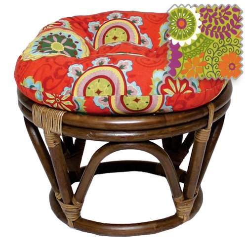 International Caravan 3301-REO-36-IC Furniture Piece Rattan Ottoman with Outdoor Fabric Cushion