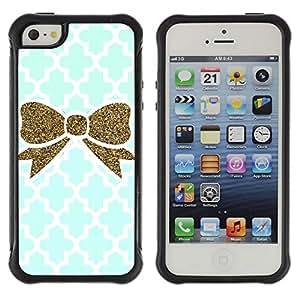 Suave TPU GEL Carcasa Funda Silicona Blando Estuche Caso de protección (para) Apple Iphone 5 / 5S / CECELL Phone case / / Moroccan Blue Gold Bling White /