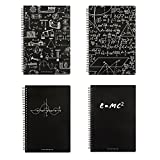 Olpchee 4 PCS Creative Blackboard Design Spiral Notebook Writing Pads Notebooks with Hardcover for Training Planner School (A5)