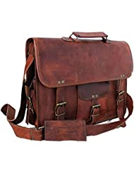 DHK Genuine Vintage Brown Leather Messenger Shoulder Laptop Bag for Upto 15-Inch Laptop Leather Messenger Bag...