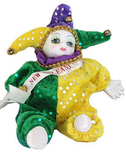 Porcelain Doll Ornament - Porcelain Baby Clown Doll Mardi Gras New Orleans (Purple Green Gold)