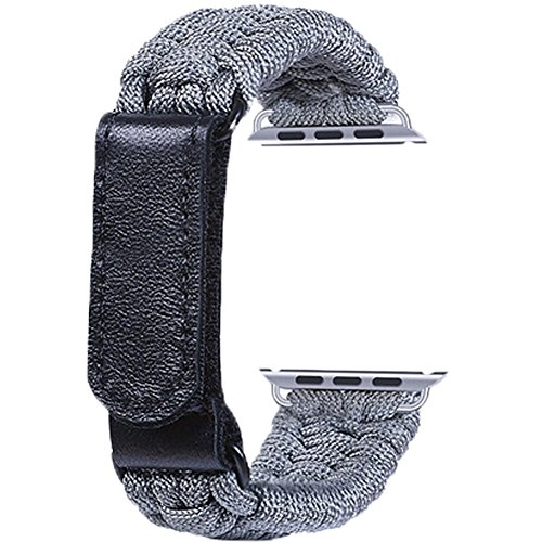 Topshion Nylon Braided Watch Strap Braided with Leather Adjustable Clasp Woven Watch Band for iWatch 38mm ()