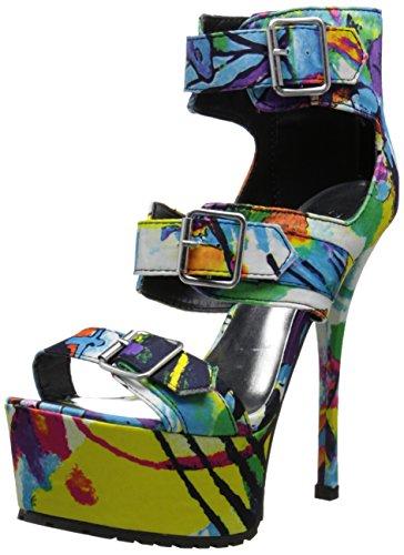 Qupid Women's Survivor-19 Platform Sandal Turquoise/Multi rvPzj