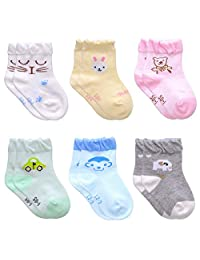 Kids Baby Toddler Socks Non-Skid Handmade Cotton Crew Walkers Unisex