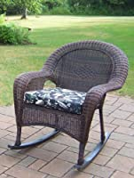 Oakland Living Resin Wicker Rocker with Cushion, Coffee, Set of 2