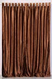 Indian Selections Lined-Brown Tab Top Velvet Curtain/Drape/Panel - 60W x 120L - Piece