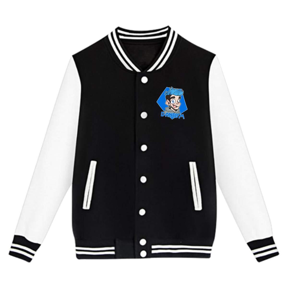 LianLiYa Boys Dantdm Doodle Baseball Fleece Coat