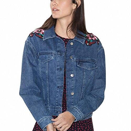 Women Autumn Blue Cotton Denim Jacket Light Washed woman Collar Embroidery Flower fashion jeans Coats YO275
