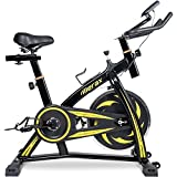 Merax Indoor Cycling Bike Trainer – Stationary Exercise Bicycle Fitness Equipment for Home Gym Workout (Yellow)