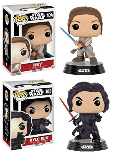 Funko POP! Star Wars Episode IV: Rey w/ Lightsaber & Kylo Ren (Fighting Pose) - Vinyl Bobble-Head Figure Set NEW