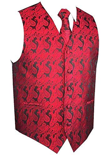 Braves Tie - Men's 3pc Paisley Vest (4XL (Chest 56), Red/Black)