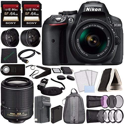 Nikon D5300 Cámara DSLR con Lente de 18-55 mm (Negro) + Lente ...