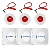 CallToU Wireless Caregiver Pager Smart Call System 3 SOS Call Buttons/Transmitters 3 Receivers Nurse Calling Alert Patient Help System for Home/Personal Attention Pager 500+Feet Plugin Receiver Alert