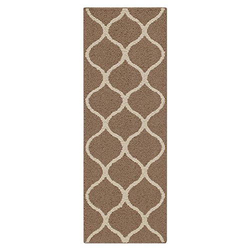 Runner Rug, Maples Rugs [Made in USA][Rebecca] 1'9 x 5' Non Slip Hallway Entry Area Rug for Living Room, Bedroom, and Kitchen - Café Brown/White (Hallway Runner Rugs)