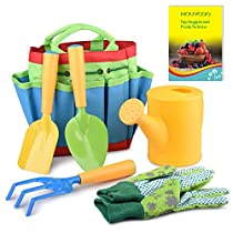 Kids Gardening Tools Sets,7 PCS Garden Tools Set for Kids with Watering Can, Shovel, Rake, Fork,Gardening Gloves All in One Gardening Tote NC27