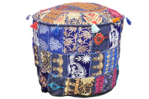 Indian Vintage Patchwork Ottoman Pouf , Indian Living Room Ottoman Pouf Cover, Foot Stool Storage Cover, Round Ottoman Cover Pouf, Floor Pillow Ottoman Poof Cotton Cushion Ottoman Cover by Marudhara Fashion