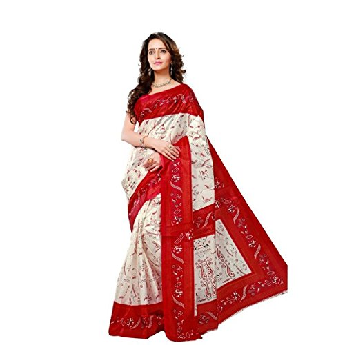 Triveni Graceful White Colored Printed Silk Casual Wear Saree with Unstitched Blouse Piece Without Blouse