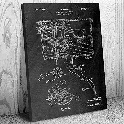 Patent Earth Toilet Flush Valve Canvas Art Print, Plumber Gift, Lavatory Washroom, Toilet Tank, Water Closet, Bathroom Plumbing Chalkboard (Black) (16