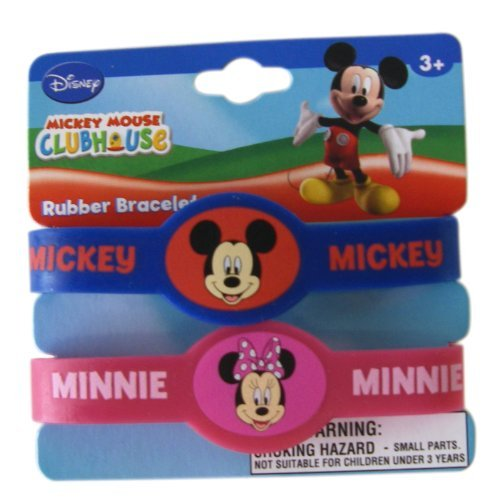Disney Mickey Mouse Clubhouse 2pc Rubber Bracelet Set-Mickey and Minnie Mouse Kids Bracelet Set