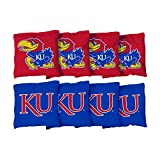 Victory Tailgate NCAA Regulation Cornhole Game Bag Set (8 Bags Included, Corn-Filled) - Kansas Jayhawks