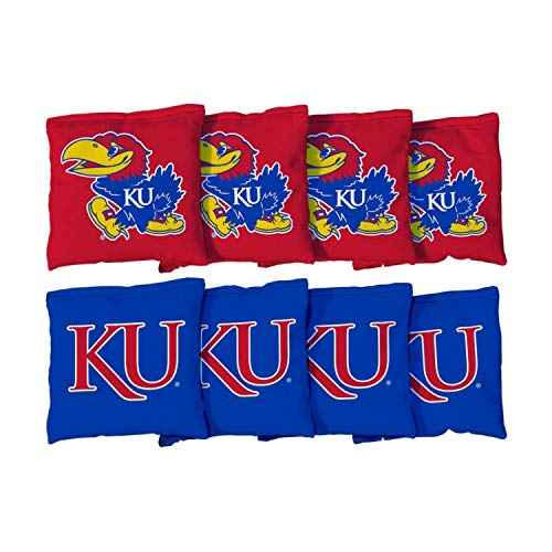 - Victory Tailgate NCAA Collegiate Regulation Cornhole Game Bag Set (8 Bags Included, Corn-Filled) - Kansas Jayhawks