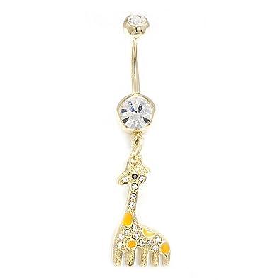 Amazon Com Belly Button Ring 14g Dangle Gold Ip Giraffe Clear Cz