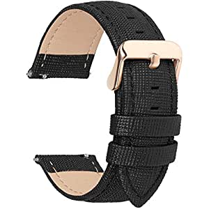 6 Colors for Quick Release Leather Watch Band, Fullmosa Cross Genuine Leather Watch Strap 14mm Black