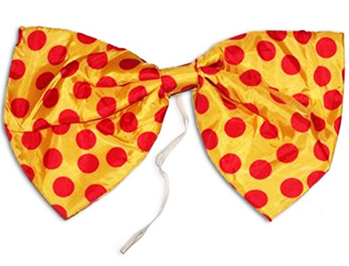 Star Power Large Clown Polka Dot Oversized Bow Tie, Yellow Red, One-Size (12in) ()