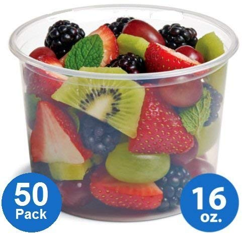 - Plastic Food Storage Containers with lids - Foodsavers Deli Cups / Foodsavers for Portion Control & Miscellaneous - Commercial Duty, Watertight & Leakproof (16oz, 50pcs)