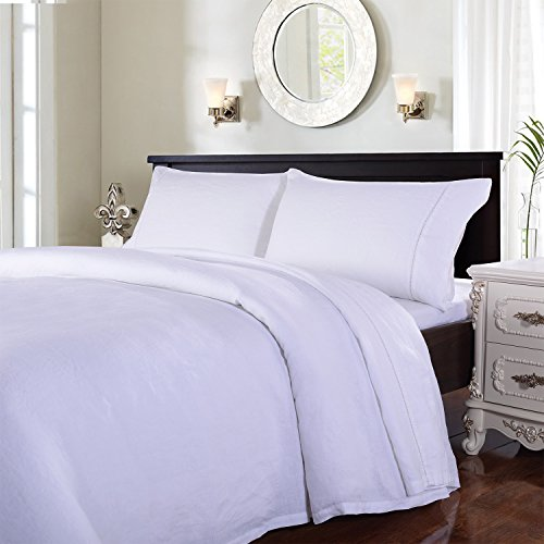 Simple&Opulence 100% Stone Washed Linen 4pcs Hollowed-Out Design Solid Sheet Set (King, White)