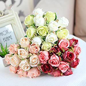 12Pcs Artificial Rose Bouquet Decorative Silk Flowers Bride Bouquets for Wedding Home Party Decoration Wedding Supplies 108