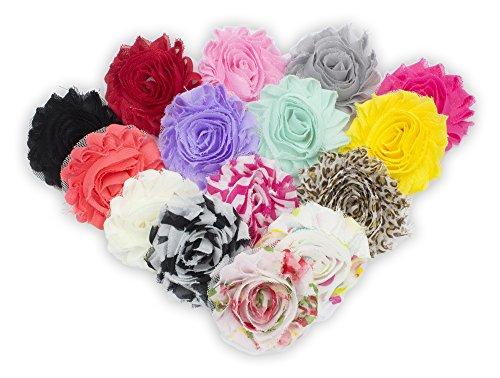 (JLIKA (30 pieces) 15 Pairs Shabby Flowers - Chiffon Fabric Roses - 2.5