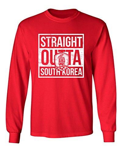 Tcamp New 2018 World Soccer Championship Straight Outta South Korea Pride Men's Long Sleeve T-Shirt (Red, Adult XX-Large) (Korea Soccer Pride T-shirt)