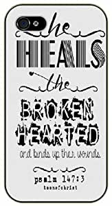 He heals the broken hearted and binds up their wounds - Psalm 147:3 - Bible verse IPHONE 5C black plastic case / Christian Verses