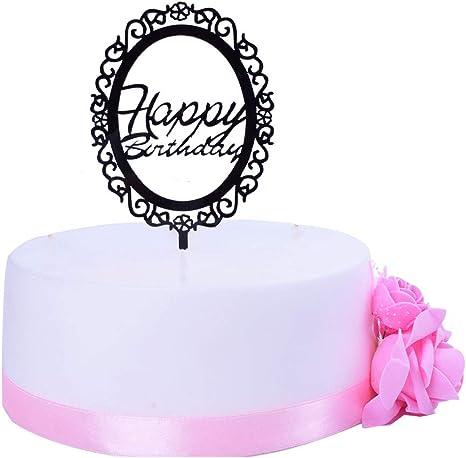 Tremendous Amazon Com Shami Black Acrylic Silhouette Happy Birthday Cake Birthday Cards Printable Nowaargucafe Filternl