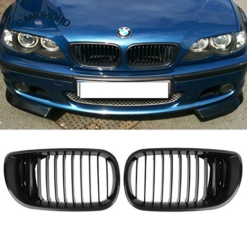 Price comparison product image Opar 2PCS Matt Black Front Hood Kidney Grille for BMW 2002-2005 BMW E46 4-Door 318i 320i 323i 325i 328i