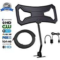 Outdoor 150 Miles Attic HD Antenna - Bestrillion 2017 Digital TV Antenna with Signal Amplifier Kit and Easy Installation for 1080P High Reception Free Gain with 30Ft Coaxial Cable and Mount Pole