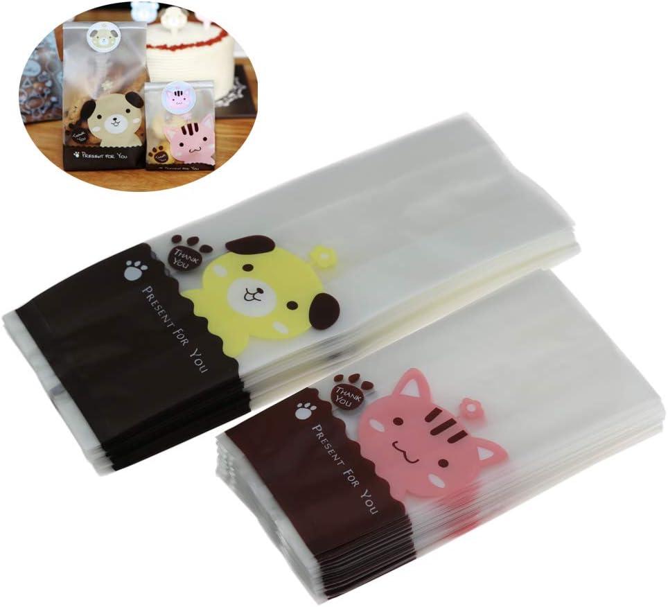 100 bolsas de galletas resellables transparentes y 109 pegatinas de perro para galletas de galletas y caramelos, bolsas de regalo para regalo 50pcs cat + 50pcs dog