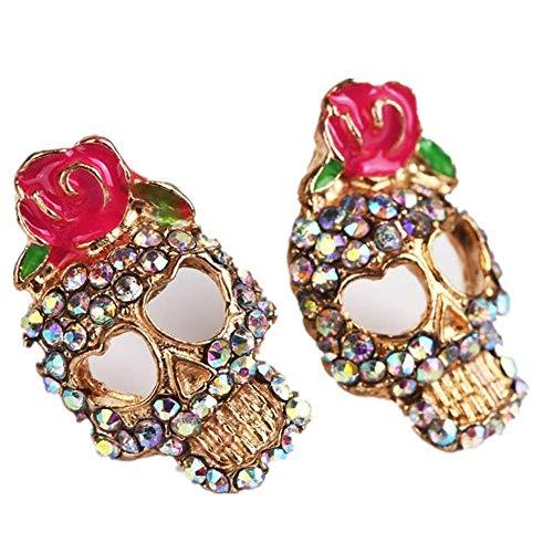 LiLiMeng Cute Pink Rose Rhinestone Skeleton Skull Ear Studs Earrings Jewelry