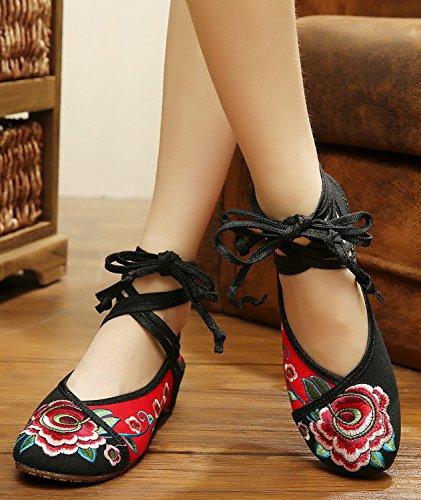 Chaussures Plat Broderie Janes Denim Main Moulantes Ballerine Fleur Femme Icegrey Mary 41 Noir Fait qwYPxqa
